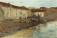 village with shepherd and his flock by william henry bartlett