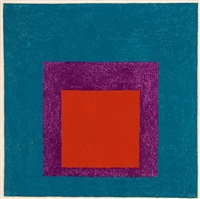study for homage to the square: red and violet in blue by josef albers