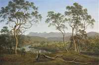 ben lomond from mr talbot's property -- four men catching opossums by john glover