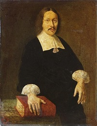 portrait of rudolfus capellus, in black costume with a lawn collar, at a draped table with his right hand resting on a bible by abraham snaphaen