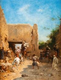 le départ des chasseurs pour laghouat by eugène fromentin