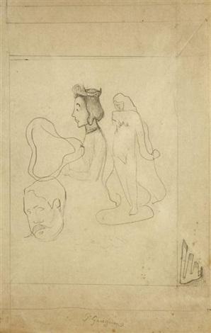 feuille de croquis (tête d'homme moustachu, femme de profil, femme nue en pied) by paul gauguin