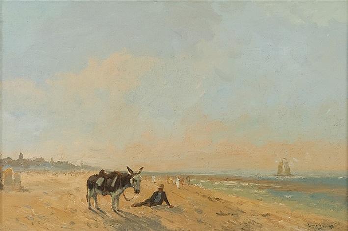 kustlandskap vid scheveningen med åsna och figurer på sandstrand, i fonden segelbåt by louis soonius