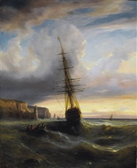 felsige meeresküste mit segelschiff im abendrot by alexandre calame