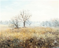 fallow field and winter tree by tessa perceval