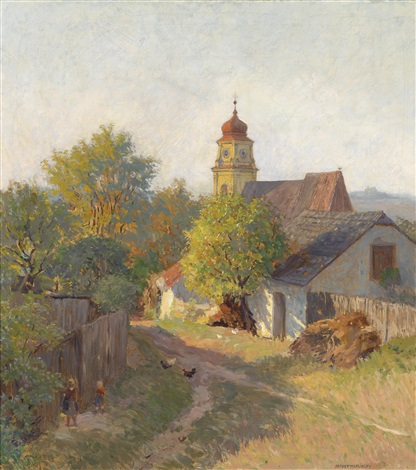 herbstabend am bisamberg by anton hans karlinsky