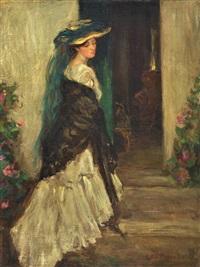 retrato de mujer con sombrero y chal by henry salem hubell