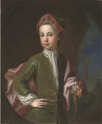 portrait of a young gentleman of the halsey family, three-quarter-length, in a green coat and hat with a pink cloak, holding a bow in his left hand, in a landscape, feigned oval by charles d' agar