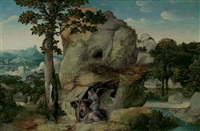 an extensive landscape with elijah and the angel by joachim patinir