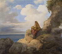 contadinella sulle rocce (country girl sitting on the rocks) by vincenzo cabianca