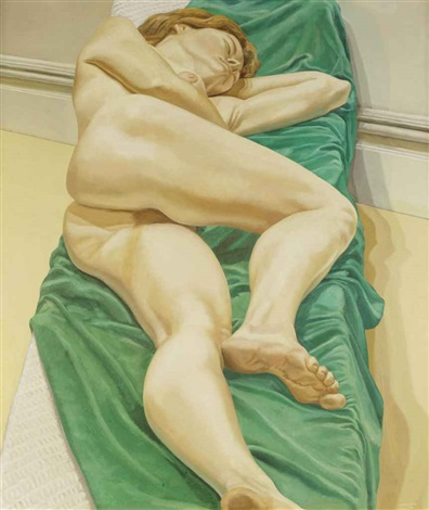 nude on green drape by philip pearlstein
