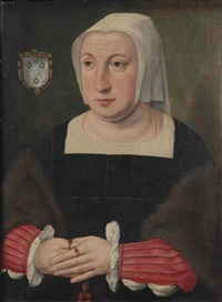 portrait of a lady, half-length, in a black dress with red sleeves and a fur stole, holding a rosary by dutch school-southern (16)