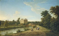 view of dunton hall, lincolnshire by george lambert