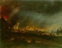 a town burning at night by jan meerhout