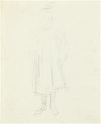 szkic postaci stojącej, bosej dziewczynki i szkic dziewczynki siedzącej ukazanej z lewego profilu w marynarskiej czapce (recto/verso) by vlastimil hofmann