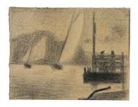 régates (deux bateaux à voiles) by georges seurat