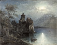 château chillon bei vollmond by franz adolf christian müller