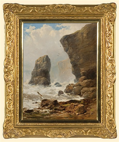 storm at rocky shore by george blackie sticks