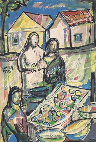 untitled figures at the market by francis newton souza