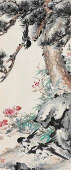 四喜图 立轴 设色绢本 (flower and birds) by wang xuetao