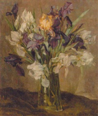 irises in a vase on a table by lena cornelia ten bosch
