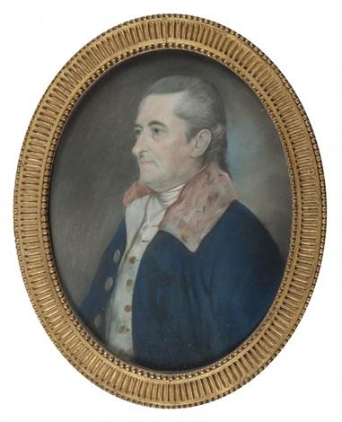portrait dhomme en buste à la lavallière blanche portant un redingote bleu marine by henri françois riesener