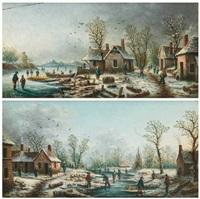 paysage de neige (pair) by albert-alexandre lenoir