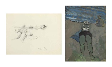evening beach and prepatory drawing 2 works by milton avery