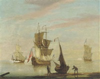 an admiralty yacht getting underway from her anchorage (2 works) by francis swaine