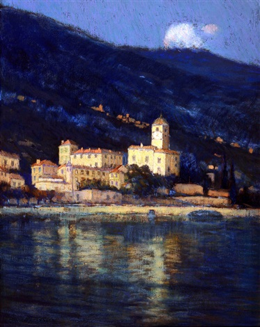 nocturne city by the shoreline bellagio lake como italy by charles warren eaton