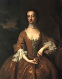 portrait of a lady in a gold dress holding pink roses by jeremiah davison
