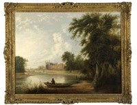 eton college from across the river thames by f. townsend