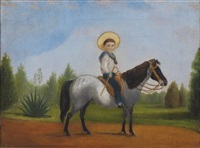untitled - young boy on a pony by charles (rhodius) rodius