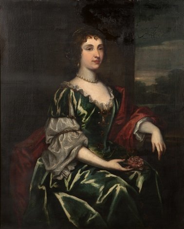 portrait of a seated woman in a green satin dress by sir peter lely