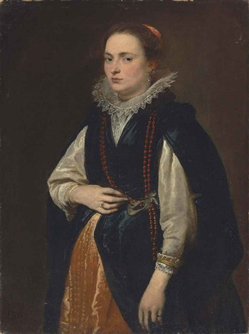 portrait of a lady three quarter length in a black mantle rust coloured silk skirt and a lace ruff with coral beads around her neck by sir anthony van dyck