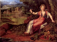cleopatra in a landscape by battista (de luteri) dossi