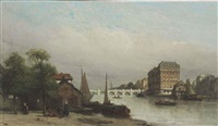 the amstel river, amsterdam by johannes bosboom