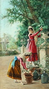 two senioritas watering flowers in a parc by luis del aguila acosta