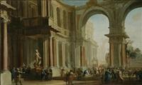 an architectural capriccio with christ and the woman taken in adultery in the foreground by filippo (il bizzarro) gagliardi