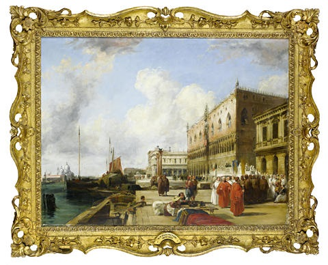 the doges palace and the riva degli schiavoni venice by richard parkes bonington