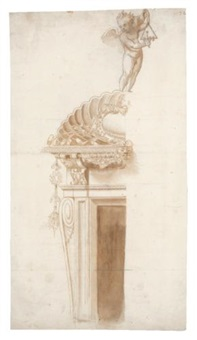a putto playing a triangle (design for a doorway) by ippolito andreasi