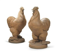 pajamas: gatepost roosters (a pair) by wheeler williams