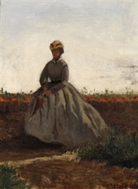 signora con ombrellino by vincenzo cabianca