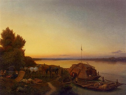 the boat horses resting at sunset by johann caspar köller