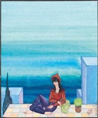 jeune fille devant la mer by jellal ben abdallah