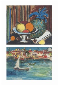 untitled (still life); untitled (ballard pier) (recto); study of a harbor scene (verso) (3 works) by krishna hawlaji ara
