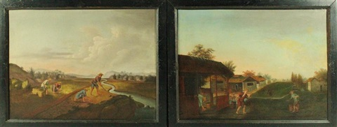 harvesting tea and drinking tea (2 works in 1 frame) by anonymous-chinese (19)