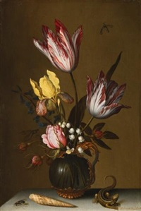 still life of tulips, roses, an iris and lily of the valley in an ornate glass jug on a stone ledge with a lizard and a shell by balthasar van der ast