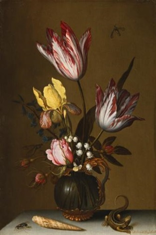 still life of tulips roses an iris and lily of the valley in an ornate glass jug on a stone ledge with a lizard and a shell by balthasar van der ast