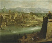 a view of a harbour with figures on a shore, st. peter's and the church of santo spirito in sassia beyond by paul bril